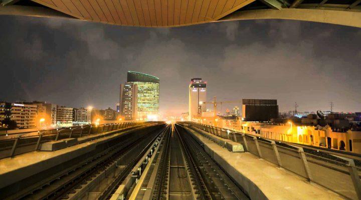 Wide LED puck at Dubai Metro